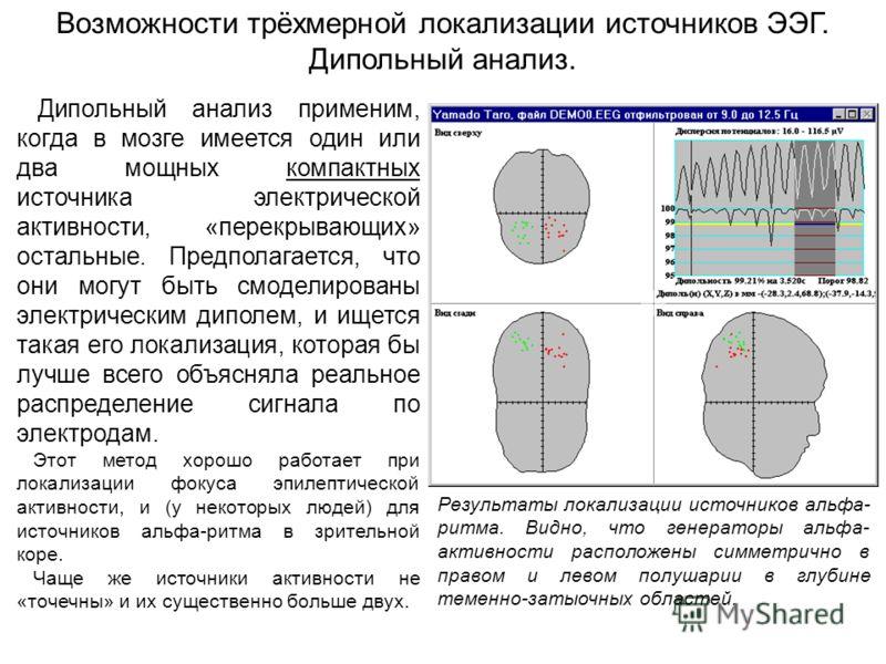 Возможности трёхмерной локализации источников ЭЭГ. Дипольный анализ. Результаты локализации источников альфа- ритма. Видно, что генераторы альфа- активности расположены симметрично в правом и левом полушарии в глубине теменно-затыочных областей. Дипо