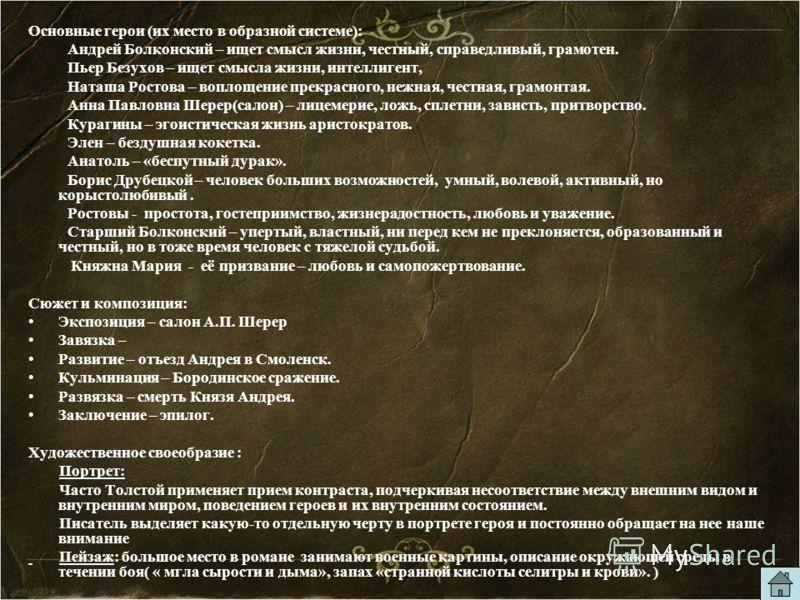 Основные герои (их место в образной системе): Андрей Болконский – ищет смысл жизни, честный, справедливый, грамотен. Пьер Безухов – ищет смысла жизни, интеллигент, Наташа Ростова – воплощение прекрасного, нежная, честная, грамонтая. Анна Павловна Шер