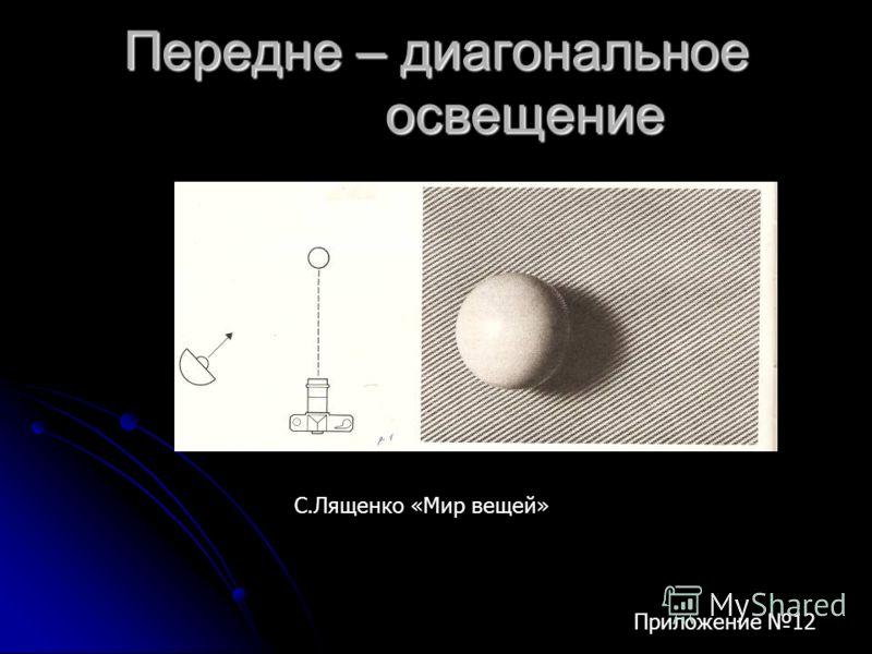 Передне – диагональное освещение С.Лященко «Мир вещей» Приложение 12