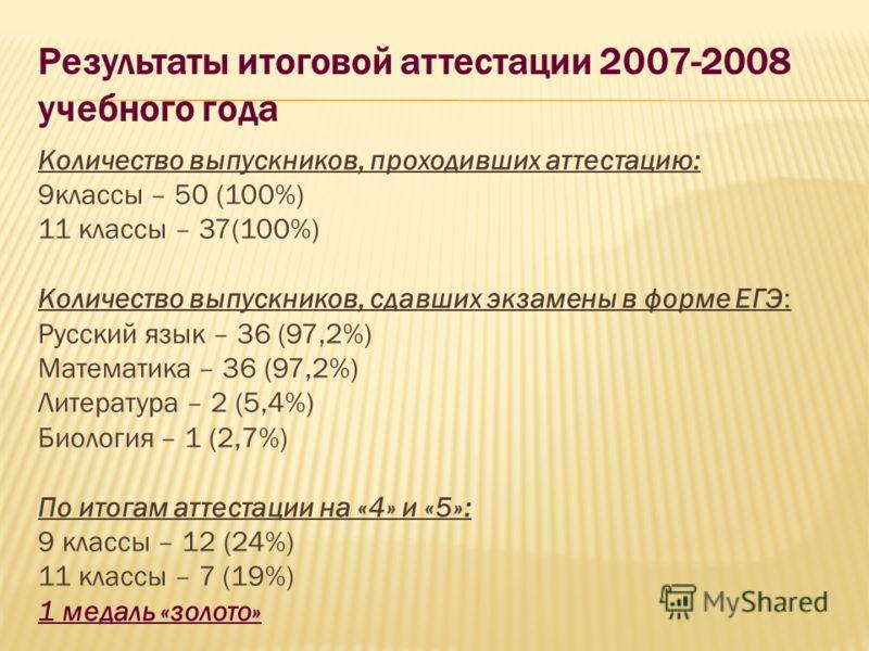 Результаты итоговой аттестации 2007-2008 учебного года Количество выпускников, проходивших аттестацию: 9классы – 50 (100%) 11 классы – 37(100%) Количество выпускников, сдавших экзамены в форме ЕГЭ: Русский язык – 36 (97,2%) Математика – 36 (97,2%) Ли