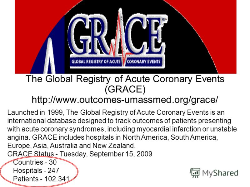 The Global Registry of Acute Coronary Events (GRACE) http://www.outcomes-umassmed.org/grace/ Launched in 1999, The Global Registry of Acute Coronary Events is an international database designed to track outcomes of patients presenting with acute coro
