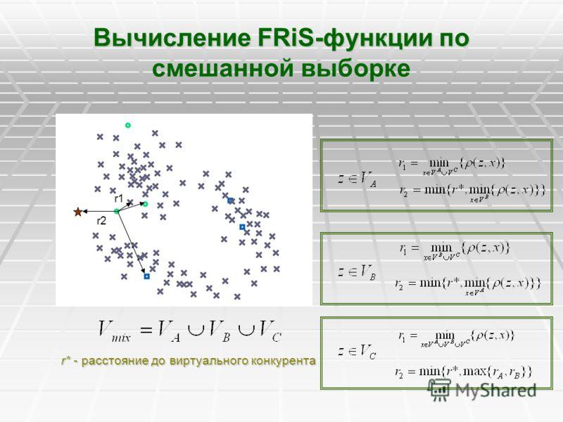 Вычисление FRiS-функции по смешанной выборке r* - расстояние до виртуального конкурента r1 r2r2