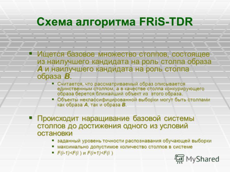 Схема алгоритма FRiS-TDR Ищется базовое множество столпов, состоящее из наилучшего кандидата на роль столпа образа А и наилучшего кандидата на роль столпа образа В. Ищется базовое множество столпов, состоящее из наилучшего кандидата на роль столпа об