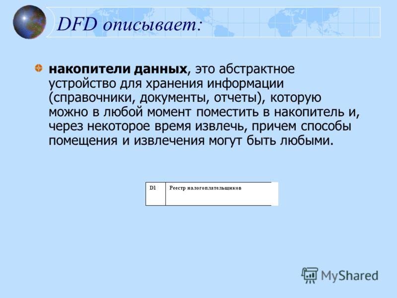 DFD описывает: накопители данных, это абстрактное устройство для хранения информации (справочники, документы, отчеты), которую можно в любой момент поместить в накопитель и, через некоторое время извлечь, причем способы помещения и извлечения могут б