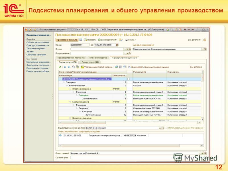 12 Подсистема планирования и общего управления производством