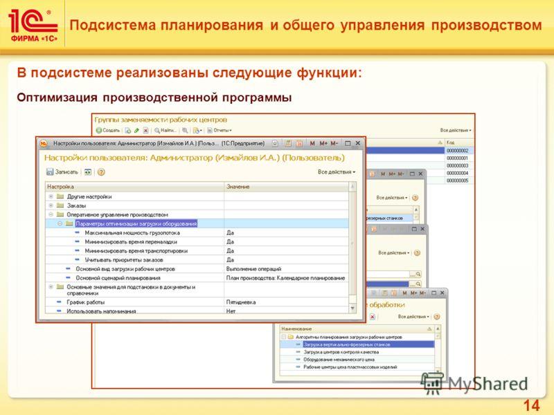 14 Подсистема планирования и общего управления производством В подсистеме реализованы следующие функции: Оптимизация производственной программы