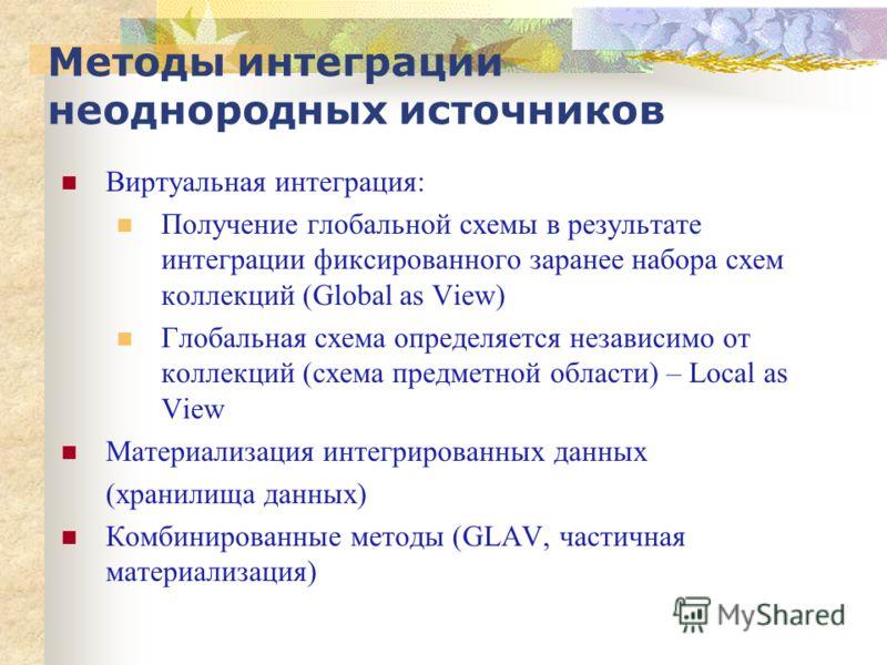 Виртуальная интеграция: Получение глобальной схемы в результате интеграции фиксированного заранее набора схем коллекций (Global as View) Глобальная схема определяется независимо от коллекций (схема предметной области) – Local as View Материализация и