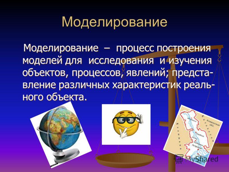 Моделирование Моделирование – процесс построения моделей для исследования и изучения объектов, процессов, явлений; предста- вление различных характеристик реаль- ного объекта. Моделирование – процесс построения моделей для исследования и изучения объ