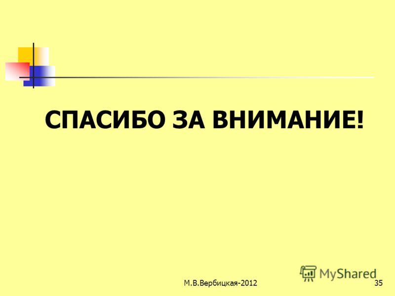 35 СПАСИБО ЗА ВНИМАНИЕ! М.В.Вербицкая-2012