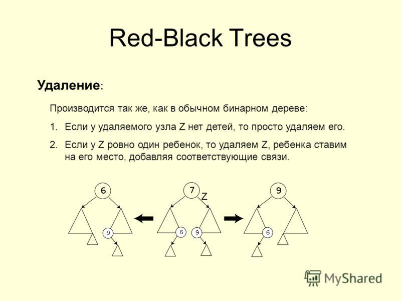 Red-Black Trees Удаление : Производится так же, как в обычном бинарном дереве: 1.Если у удаляемого узла Z нет детей, то просто удаляем его. 2.Если у Z ровно один ребенок, то удаляем Z, ребенка ставим на его место, добавляя соответствующие связи. Z