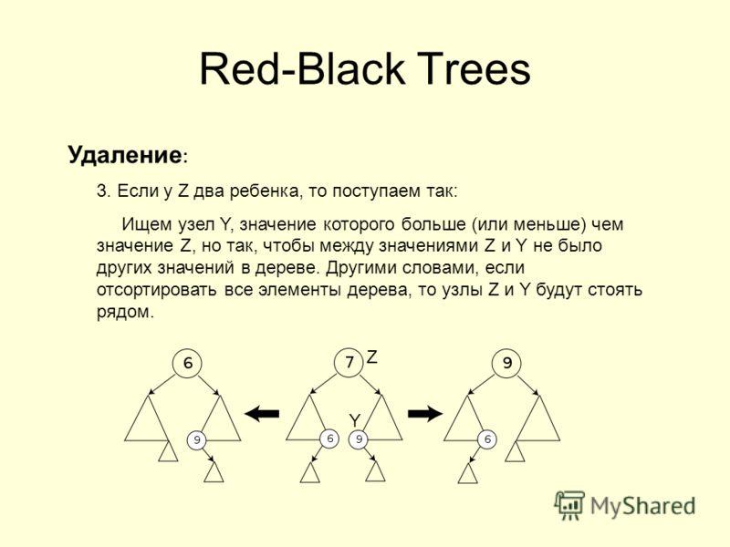 Red-Black Trees Удаление : 3. Если у Z два ребенка, то поступаем так: Ищем узел Y, значение которого больше (или меньше) чем значение Z, но так, чтобы между значениями Z и Y не было других значений в дереве. Другими словами, если отсортировать все эл