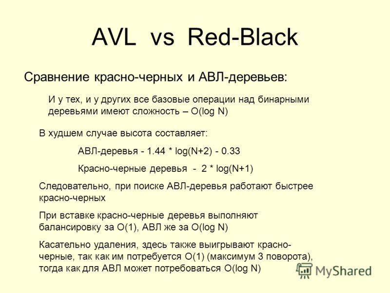 AVL vs Red-Black Сравнение красно-черных и АВЛ-деревьев: В худшем случае высота составляет: АВЛ-деревья - 1.44 * log(N+2) - 0.33 Красно-черные деревья - 2 * log(N+1) Следовательно, при поиске АВЛ-деревья работают быстрее красно-черных При вставке кра