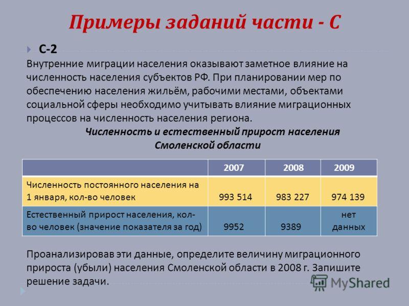 Примеры заданий части - С С -2 Внутренние миграции населения оказывают заметное влияние на численность населения субъектов РФ. При планировании мер по обеспечению населения жильём, рабочими местами, объектами социальной сферы необходимо учитывать вли