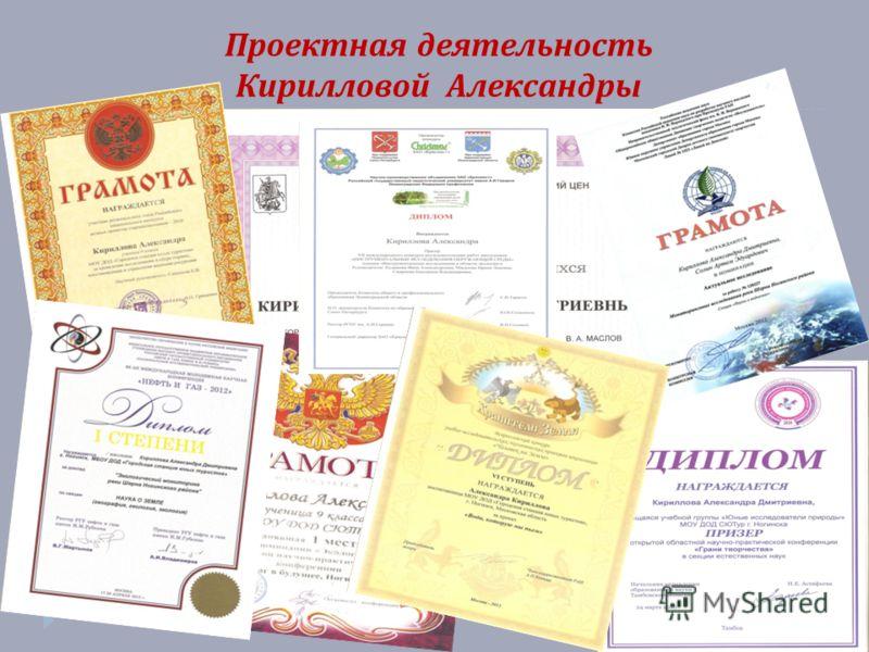 Проектная деятельность Кирилловой Александры