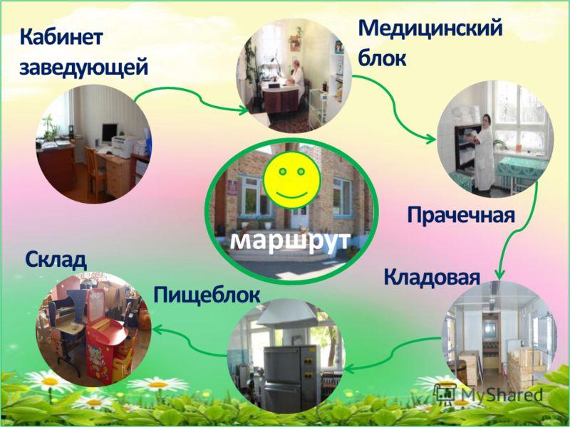 Медицинский блок Прачечная Кладовая Склад Пищеблок Кабинет заведующей маршрут