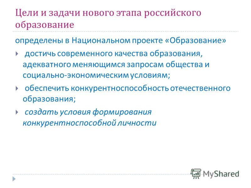 Цели и задачи нового этапа российского образование определены в Национальном проекте « Образование » достичь современного качества образования, адекватного меняющимся запросам общества и социально - экономическим условиям ; обеспечить конкурентноспос