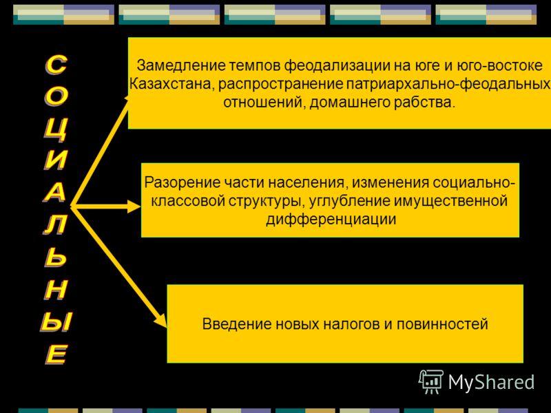Замедление темпов феодализации на юге и юго-востоке Казахстана, распространение патриархально-феодальных отношений, домашнего рабства. Разорение части населения, изменения социально- классовой структуры, углубление имущественной дифференциации Введен