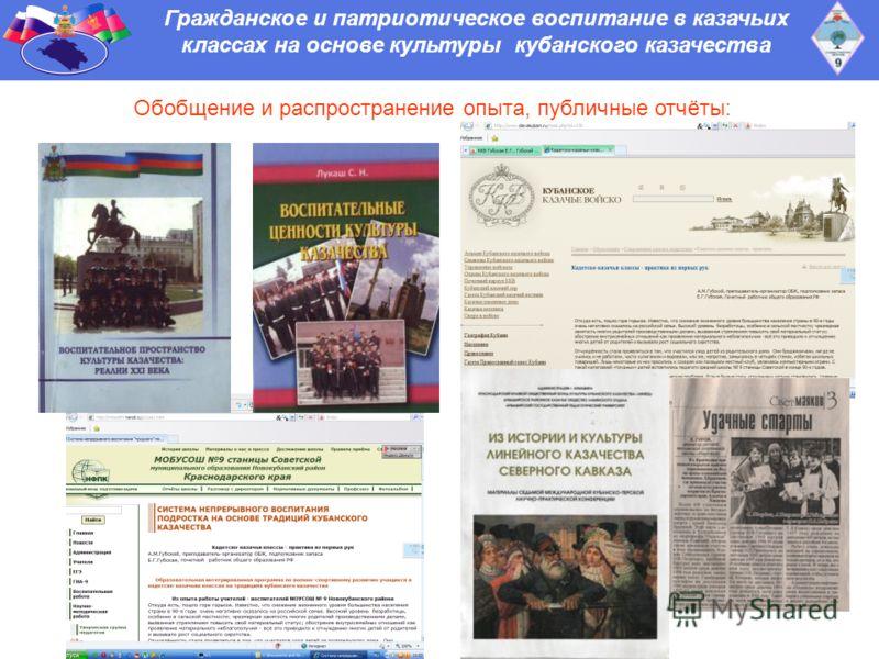 Гражданское и патриотическое воспитание в казачьих классах на основе культуры кубанского казачества Обобщение и распространение опыта, публичные отчёты: