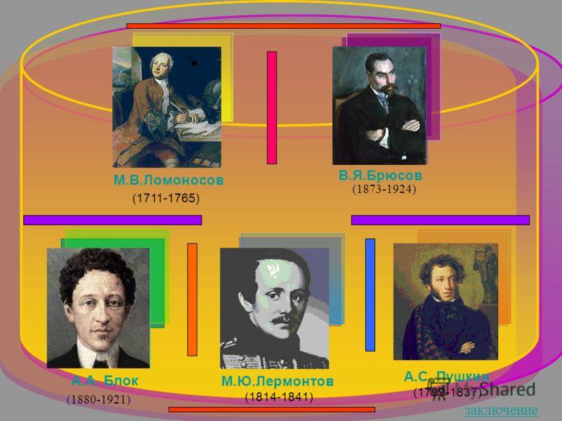 А.С. Пушкин (1799-1837) М.Ю.Лермонтов (1814-1841) М.В.Ломоносов (1711-1765) (1880-1921) А.А. Блок (1873-1924) В.Я.Брюсов заключение