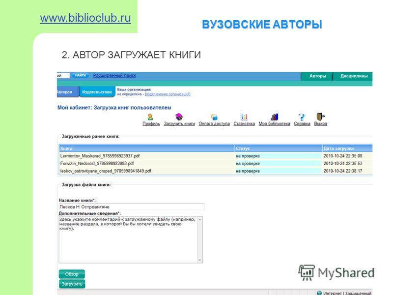 ВУЗОВСКИЕ АВТОРЫ www.biblioclub.ru 2. АВТОР ЗАГРУЖАЕТ КНИГИ