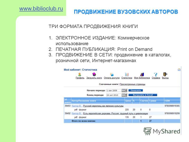 ПРОДВИЖЕНИЕ ВУЗОВСКИХ АВТОРОВ www.biblioclub.ru ТРИ ФОРМАТА ПРОДВИЖЕНИЯ КНИГИ 1.ЭЛЕКТРОННОЕ ИЗДАНИЕ: Коммерческое использование 2.ПЕЧАТНАЯ ПУБЛИКАЦИЯ: Print on Demand 3.ПРОДВИЖЕНИЕ В СЕТИ: продвижение в каталогах, розничной сети, Интернет-магазинах