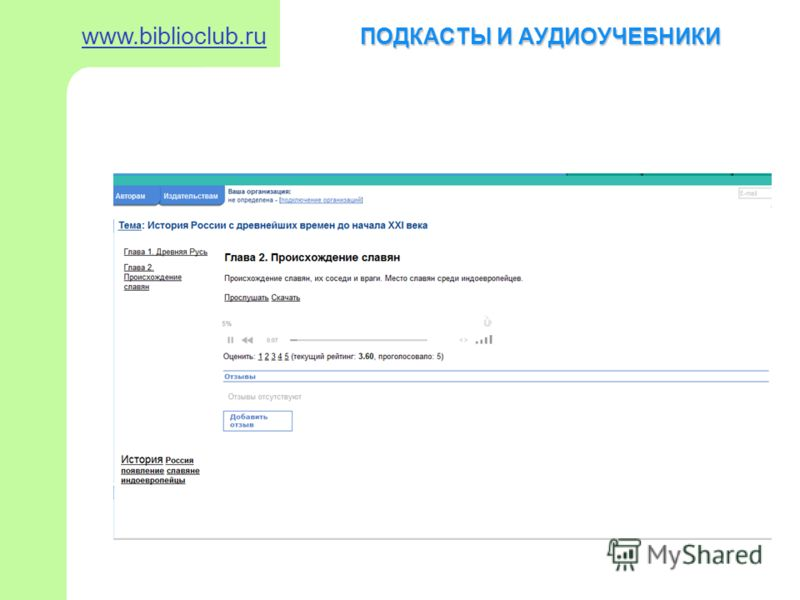 ПОДКАСТЫ И АУДИОУЧЕБНИКИ www.biblioclub.ru