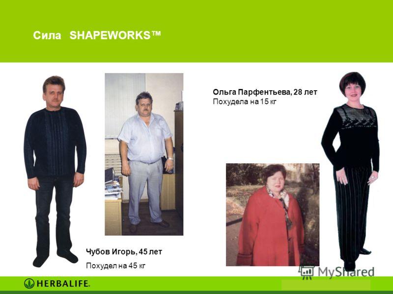 Сила SHAPEWORKS Ольга Парфентьева, 28 лет Похудела на 15 кг Чубов Игорь, 45 лет Похудел на 45 кг