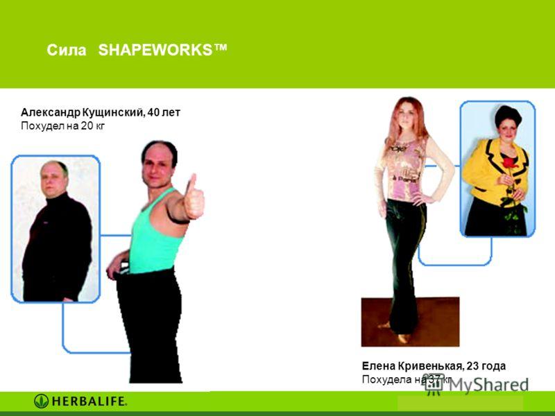 Сила SHAPEWORKS Елена Кривенькая, 23 года Похудела на 37 кг Александр Кущинский, 40 лет Похудел на 20 кг