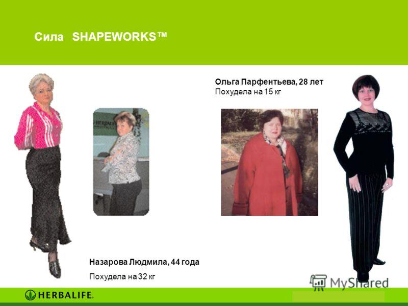 Сила SHAPEWORKS Ольга Парфентьева, 28 лет Похудела на 15 кг Назарова Людмила, 44 года Похудела на 32 кг