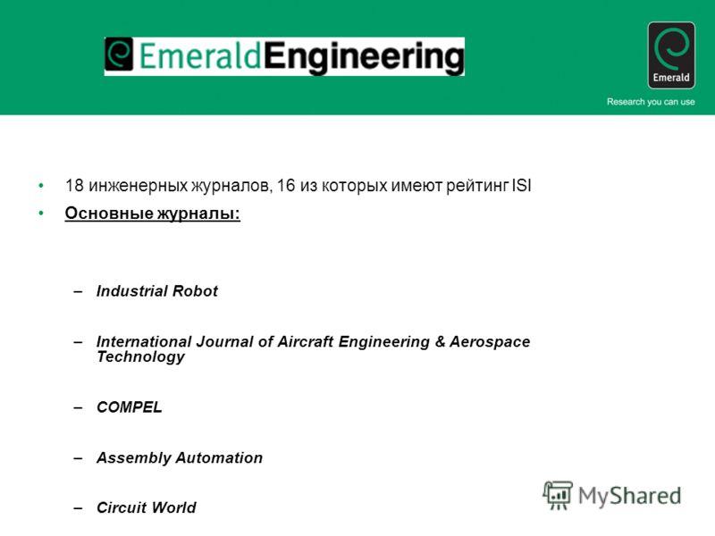 18 инженерных журналов, 16 из которых имеют рейтинг ISI Основные журналы: –Industrial Robot –International Journal of Aircraft Engineering & Aerospace Technology –COMPEL –Assembly Automation –Circuit World