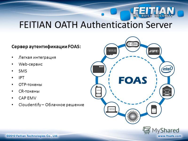 FEITIAN OATH Authentication Server Сервер аутентификации FOAS: Легкая интеграция Web-сервис SMS IPT OTP-токены CR-токены CAP EMV Cloudentify – Облачное решение