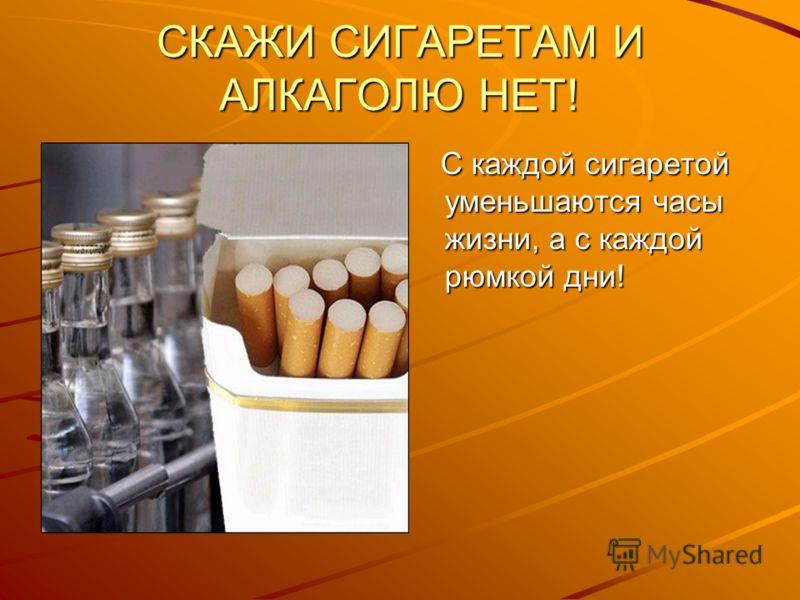 СКАЖИ СИГАРЕТАМ И АЛКАГОЛЮ НЕТ! С каждой сигаретой уменьшаются часы жизни, а с каждой рюмкой дни! С каждой сигаретой уменьшаются часы жизни, а с каждой рюмкой дни!