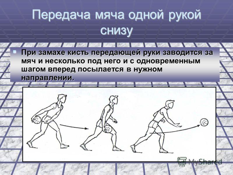 Передача мяча двумя руками снизу Мяч при замахе опускается к колену и отводится назад к бедру, после чего резким движением двух рук с одновременным шагом вперед посылается в нужном направлении. Мяч при замахе опускается к колену и отводится назад к б