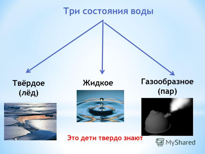 Твёрдое (лёд) Жидкое Газообразное (пар) Три состояния воды Это дети твердо знают