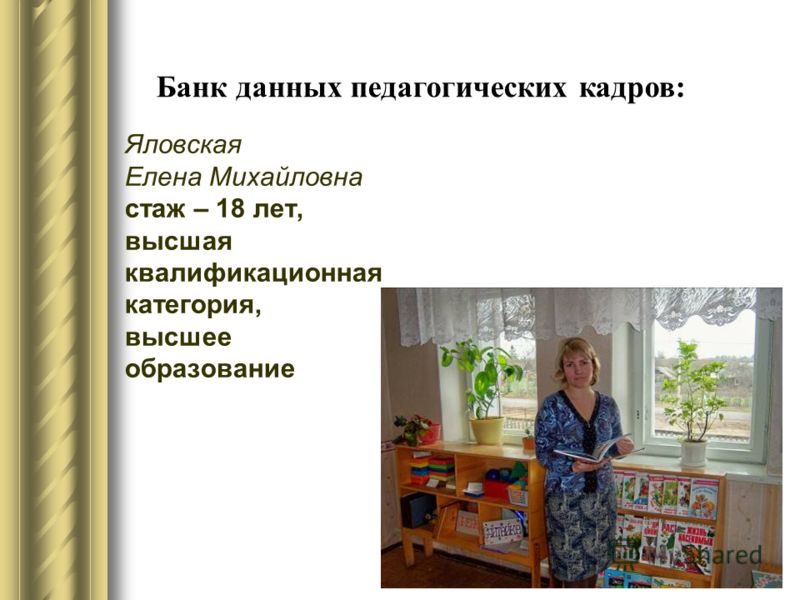 Яловская Елена Михайловна стаж – 18 лет, высшая квалификационная категория, высшее образование Банк данных педагогических кадров: