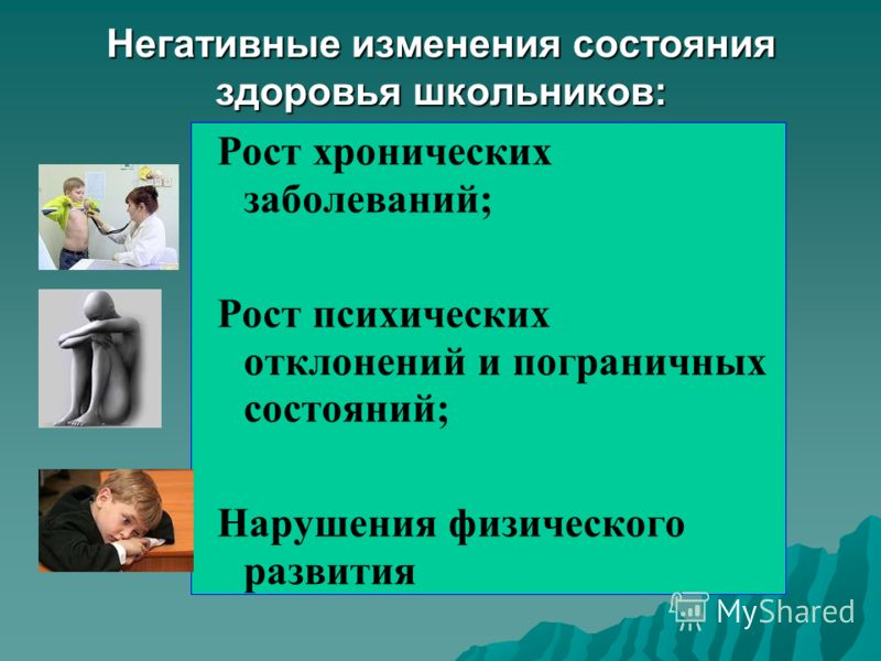 Негативные изменения состояния здоровья школьников: Рост хронических заболеваний; Рост психических отклонений и пограничных состояний; Нарушения физического развития