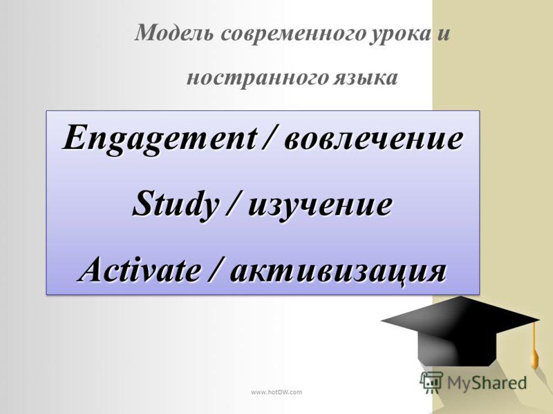 Модель современного урока и ностранного языка Engagement / вовлечение Study / изучение Activate / активизация Engagement / вовлечение Study / изучение Activate / активизация