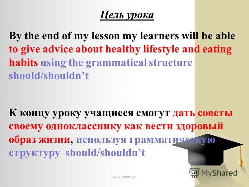 Цель урока By the end of my lesson my learners will be able to give advice about healthy lifestyle and eating habits using the grammatical structure should/shouldnt К концу уроку учащиеся смогут дать советы своему однокласснику как вести здоровый обр