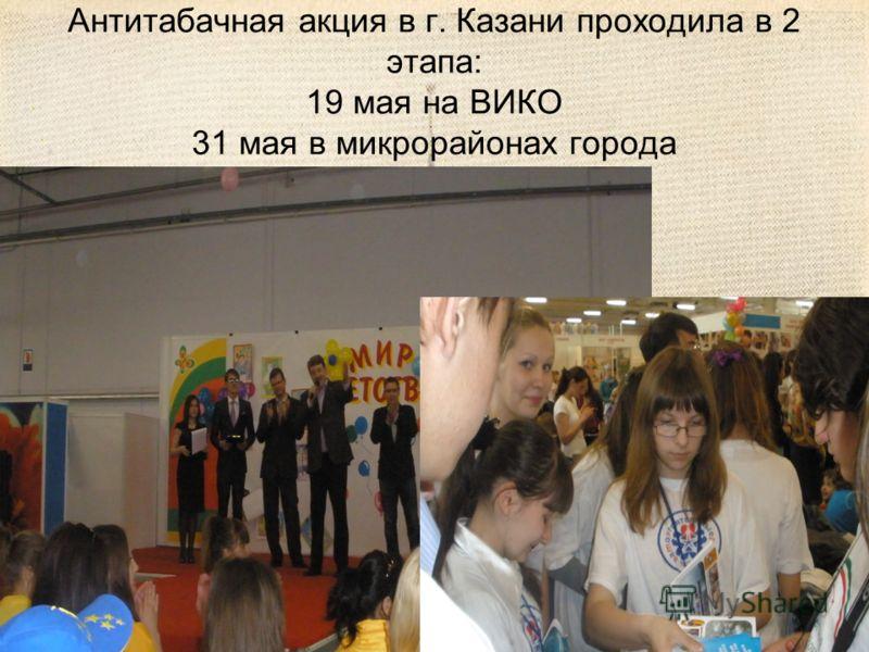 Антитабачная акция в г. Казани проходила в 2 этапа: 19 мая на ВИКО 31 мая в микрорайонах города