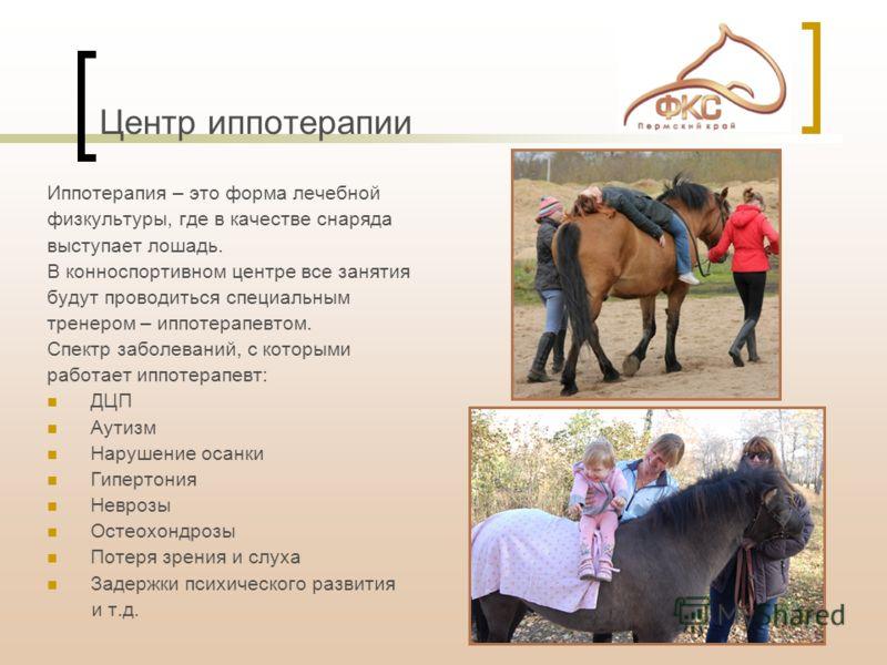 Центр иппотерапии Иппотерапия – это форма лечебной физкультуры, где в качестве снаряда выступает лошадь. В конноспортивном центре все занятия будут проводиться специальным тренером – иппотерапевтом. Спектр заболеваний, с которыми работает иппотерапев