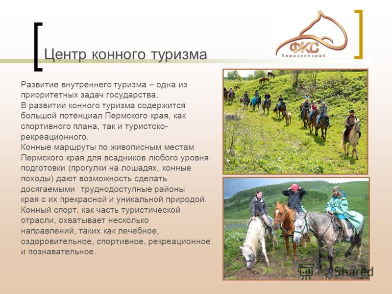 Центр конного туризма Развитие внутреннего туризма – одна из приоритетных задач государства. В развитии конного туризма содержится большой потенциал Пермского края, как спортивного плана, так и туристско- рекреационного. Конные маршруты по живописным