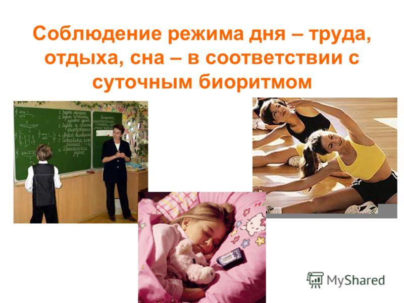 Соблюдение режима дня – труда, отдыха, сна – в соответствии с суточным биоритмом