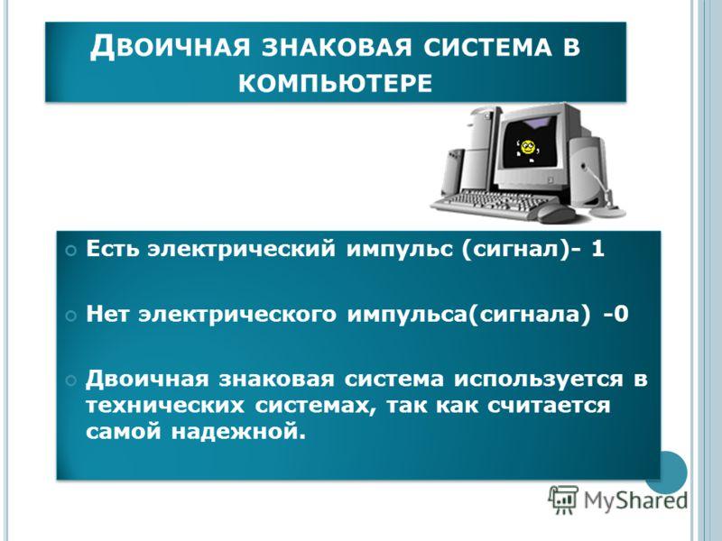 Д ВОИЧНАЯ ЗНАКОВАЯ СИСТЕМА В КОМПЬЮТЕРЕ Есть электрический импульс (сигнал)- 1 Нет электрического импульса(сигнала) -0 Двоичная знаковая система используется в технических системах, так как считается самой надежной. Есть электрический импульс (сигнал