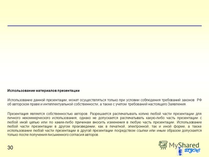 30 Использование материалов презентации Использование данной презентации, может осуществляться только при условии соблюдения требований законов РФ об авторском праве и интеллектуальной собственности, а также с учетом требований настоящего Заявления.