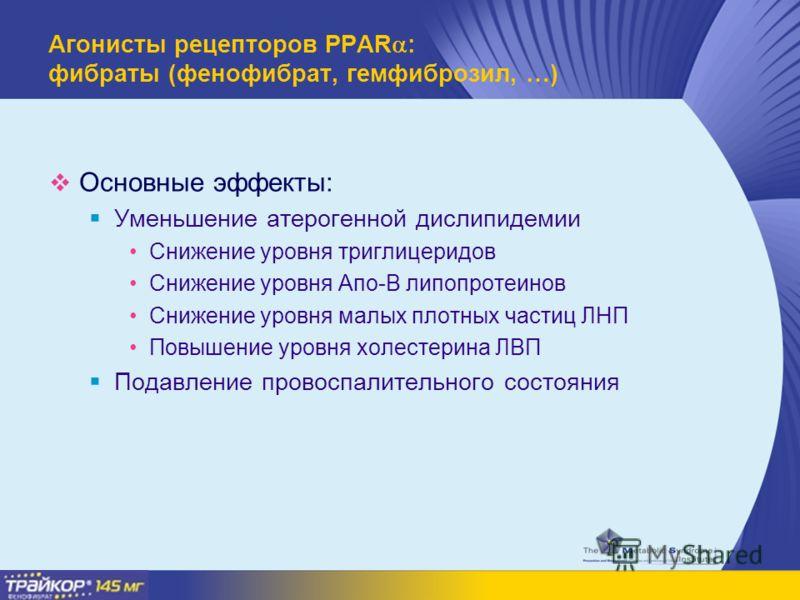 Агонисты рецепторов PPAR : фибраты (фенофибрат, гемфиброзил, …) Основные эффекты: Уменьшение атерогенной дислипидемии Снижение уровня триглицеридов Снижение уровня Апо-В липопротеинов Снижение уровня малых плотных частиц ЛНП Повышение уровня холестер