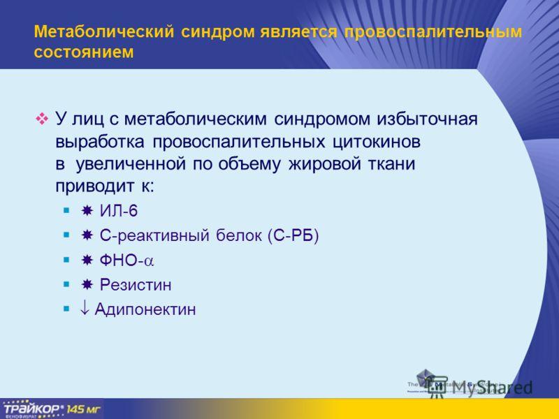 Метаболический синдром является провоспалительным состоянием У лиц с метаболическим синдромом избыточная выработка провоспалительных цитокинов в увеличенной по объему жировой ткани приводит к: ИЛ-6 C-реактивный белок (С-РБ) ФНО- Резистин Адипонектин