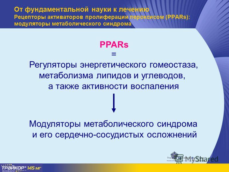 PPARs Регуляторы энергетического гомеостаза, метаболизма липидов и углеводов, а также активности воспаления = Модуляторы метаболического синдрома и его сердечно-сосудистых осложнений От фундаментальной науки к лечению Рецепторы активаторов пролиферац