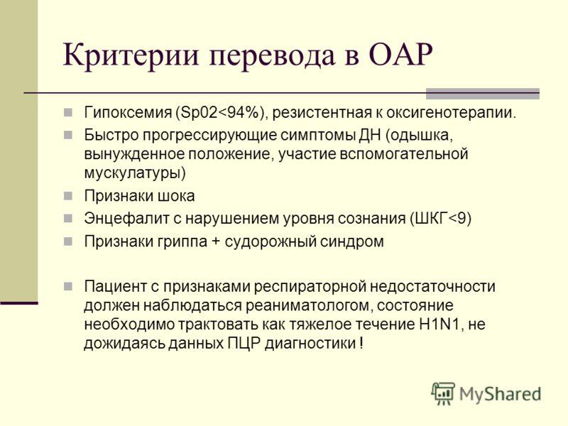 Критерии перевода в ОАР Гипоксемия (Sp02