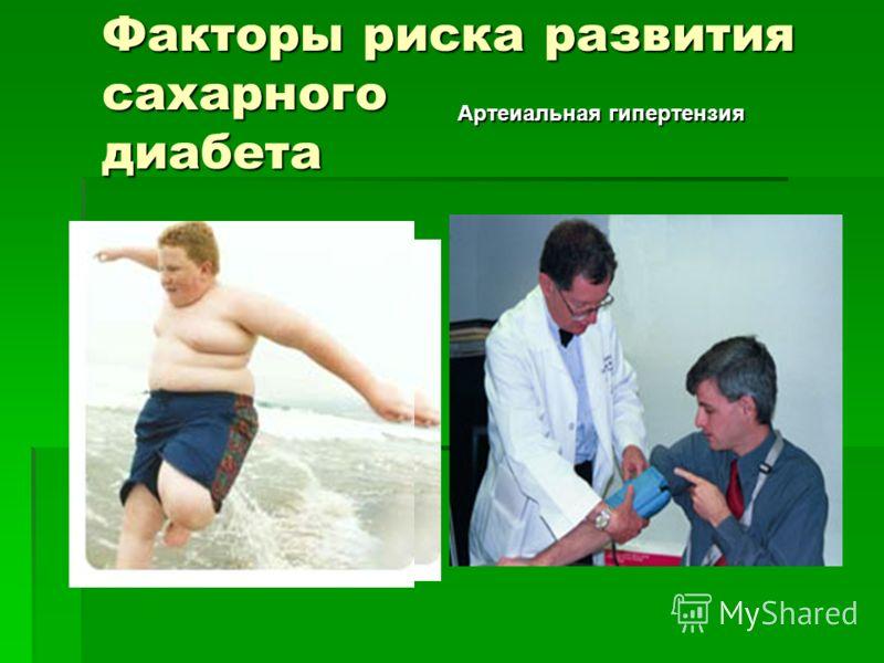 Факторы риска развития сахарного диабета Артеиальная гипертензия
