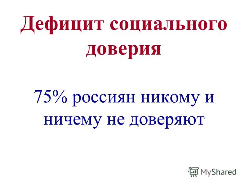Дефицит социального доверия 75% россиян никому и ничему не доверяют